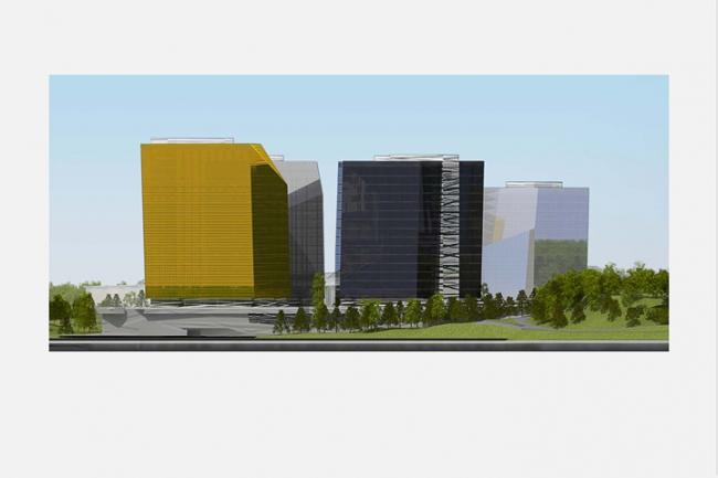 Многофункциональный комплекс в Мякинино. Фасад с севера © Архитектурное бюро «Тотемент/Пейпер»