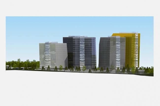 Многофункциональный комплекс в Мякинино. Фасад с востока © Архитектурное бюро «Тотемент/Пейпер»
