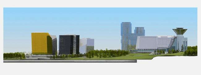 Многофункциональный комплекс в Мякинино. Панорама © Архитектурное бюро «Тотемент/Пейпер»