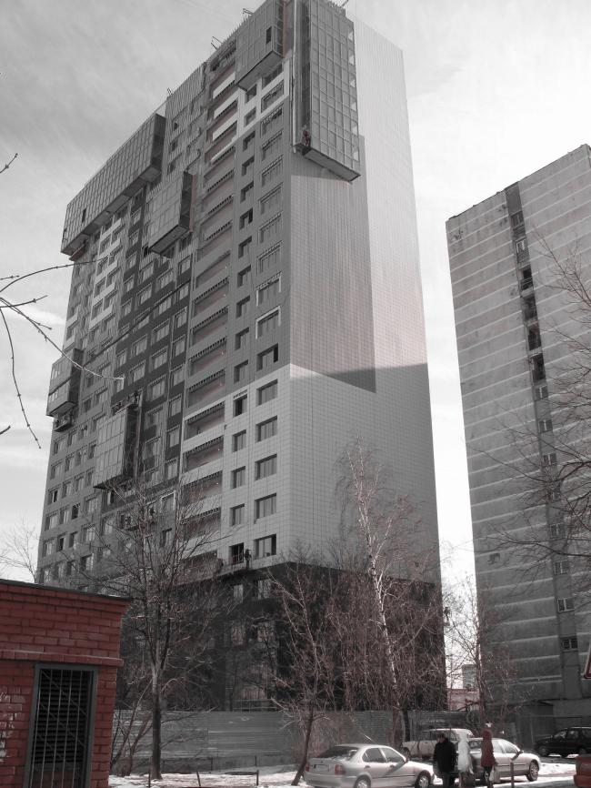 Жилищно-социальный комплекс с подземным гаражом и встроенным ДОУ на ул. Орджоникидзе © Архитектурная мастерская Лызлова