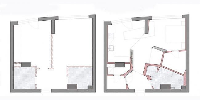 Интерьер квартиры по ул. Маршала Жукова. План квартиры до и после перепланировки © Архитектурное бюро «Тотемент/Пейпер»