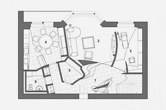 Интерьер квартиры по ул. Маленковская, План 1-го этажа © Архитектурное бюро «Тотемент/Пейпер»
