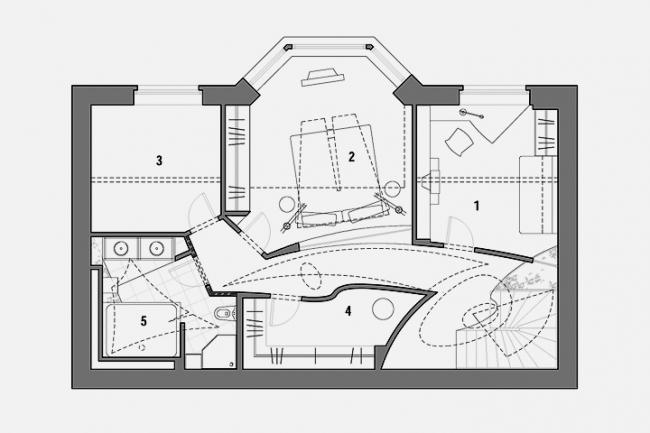 Интерьер квартиры по ул. Маленковская. План 2-го этажа © Архитектурное бюро «Тотемент/Пейпер»