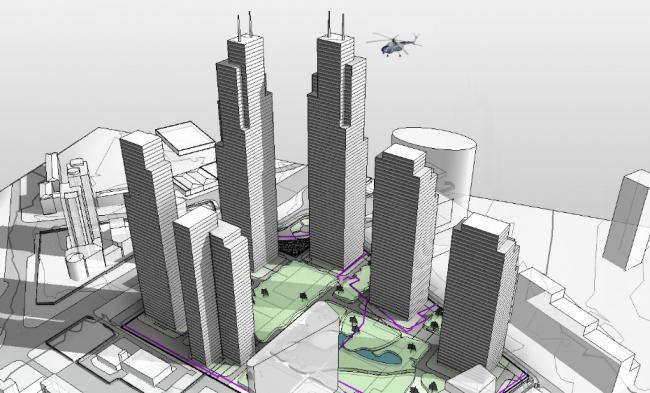 Многофункциональный комплекс на пересечении 3-го Силикатного проезда и Звенигородского шоссе © Архитектурная мастерская «АБВ»