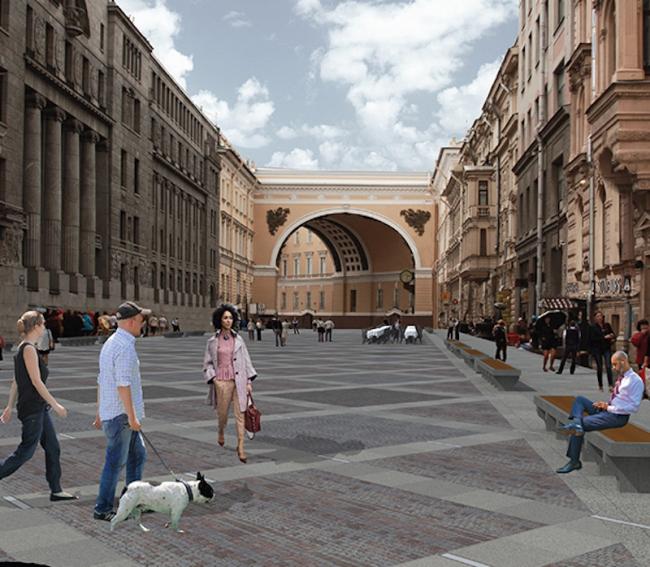 Концепция благоустройства Большой Морской улицы. Авторы: архитектурное бюро «CLEVER′S»