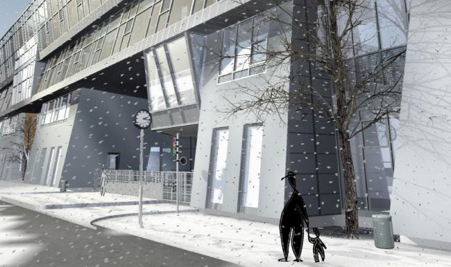 Жилой комплекс и офис на Пречистенской набережной. Детали варианта 1. Проект, 2005 © Остоженка