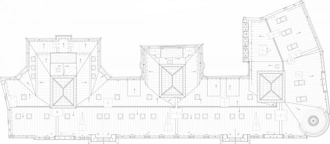 Реставрация доходного дома Тюляевой архитектора Розенкапфа. План кровли © Гинзбург Архитектс