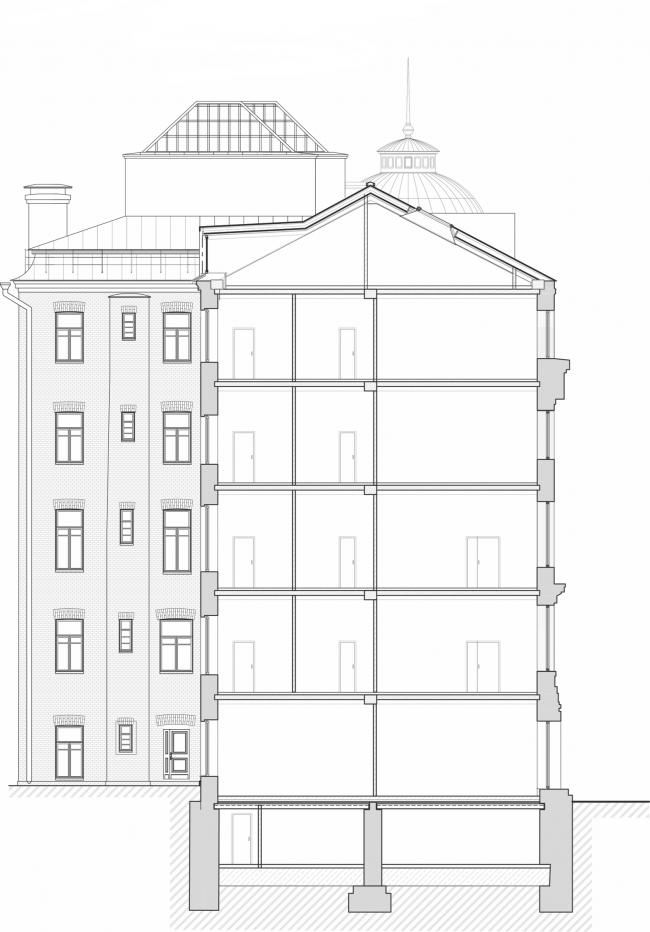 Реставрация доходного дома Тюляевой архитектора Розенкапфа. Разрез © Гинзбург Архитектс