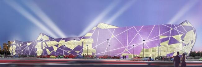 Многофункциональный торгово-развлекательный центр на ул. Сталеваров. Вариант 2. Проект, 2006 © Архитектурная мастерская «АБВ»