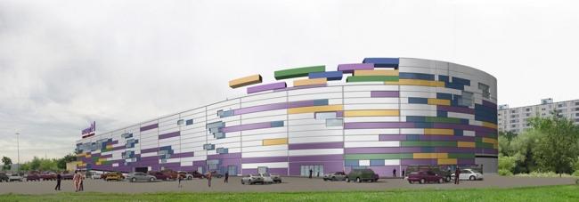 Многофункциональный торгово-развлекательный центр на ул. Сталеваров. Вариант 1. Проект, 2006 © Архитектурная мастерская «Группа АБВ»