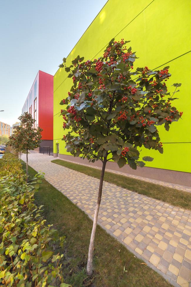 Детский сад и начальная школа в составе учебного комплекса на территории жилого квартала «Комфорт-таун». Постройка, 2014 © Архиматика