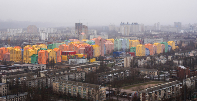 """The school complex on the territory of """"Comfort Town"""" residential area. Birds-eye view. Construction, 2014 © Archimatika"""