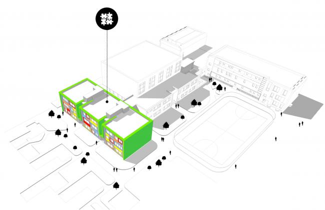 Блок детского сада в составе учебного комплекса на территории жилого квартала «Комфорт-таун». Постройка, 2014 © Архиматика