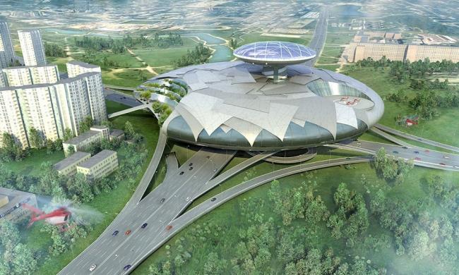 Многофункциональный комплекс на Мичуринском проспекте. Проект, 2006 © Архитектурная мастерская «АБВ»