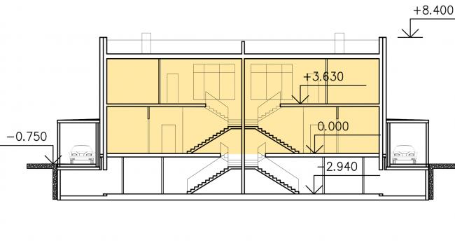 Застройка квартала в районе «Балтийская жемчужина» (жилой комплекс Dudergoff club). Разрез (блокированный жилой дом) © Архитектурная мастерская Цыцина