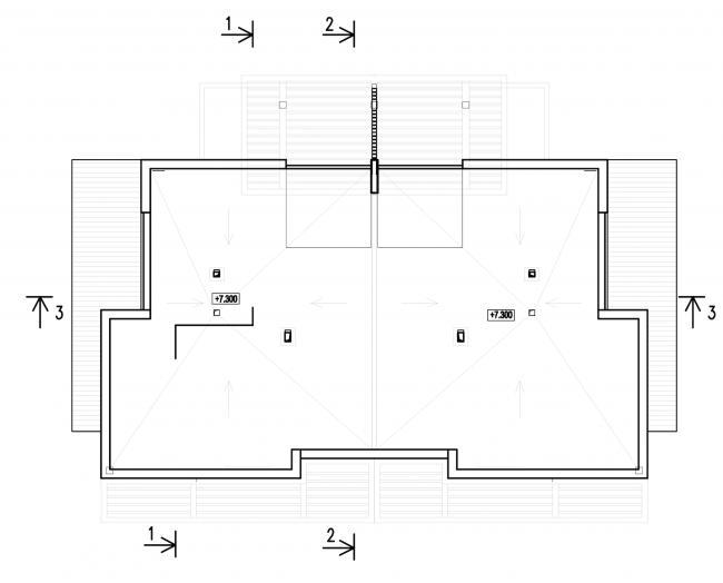 Застройка квартала в районе «Балтийская жемчужина» (жилой комплекс Dudergoff club). План кровли © Архитектурная мастерская Цыцина