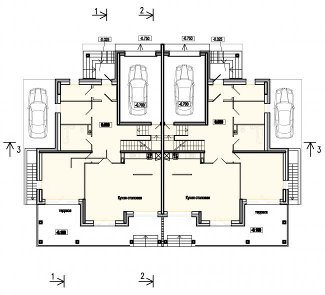 "Buildings of ""Baltiyskaya Zhemchuzhina"" complex (Dudergoff Club residential project). Plan of the 1st floor © Sergey Tsytsin Architects"