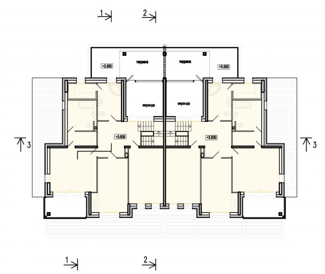 Застройка квартала в районе «Балтийская жемчужина» (жилой комплекс Dudergoff club). План 2 этажа © Архитектурная мастерская Цыцина
