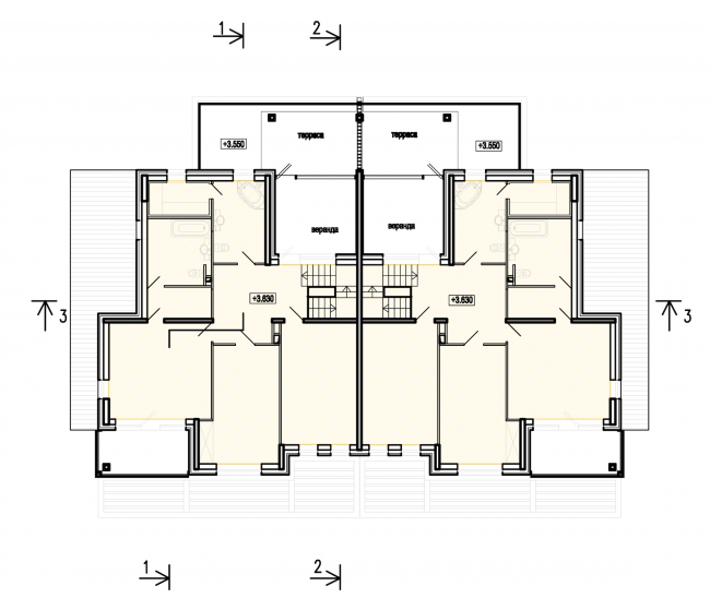 "Buildings of ""Baltiyskaya Zhemchuzhina"" complex (Dudergoff Club residential project). Plan of the 2nd floor © Sergey Tsytsin Architects"