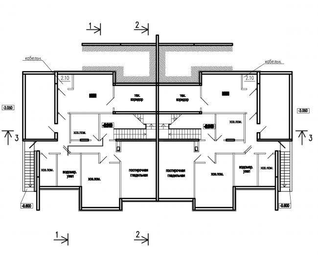 Застройка квартала в районе «Балтийская жемчужина» (жилой комплекс Dudergoff club). План подвала © Архитектурная мастерская Цыцина
