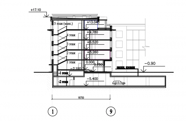 Застройка квартала в районе «Балтийская жемчужина» (жилой комплекс Dudergoff club). Разрез (секционный жилой дом) © Архитектурная мастерская Цыцина