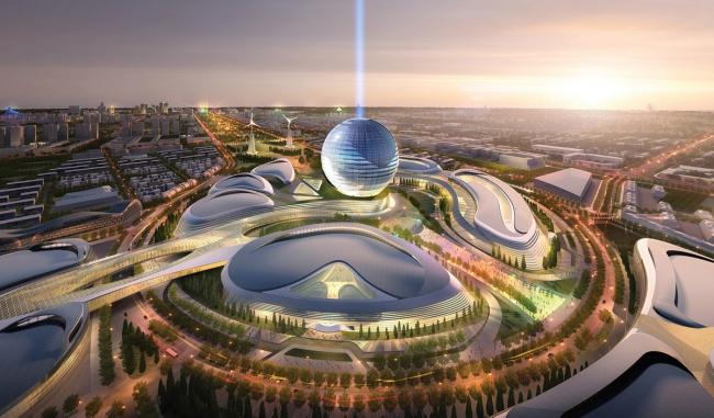 Выставочный комплекс «Астана EXPO-2017». Вид ночью. Проект, 2013. Реализация, 2016 ©  Adrian Smith + Gordon Gill Architecture