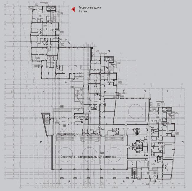 Жилой комплекс «Олимпийская деревня Новогорск. Квартиры». Террасные дома. План 1 этажа © Архитектуриум