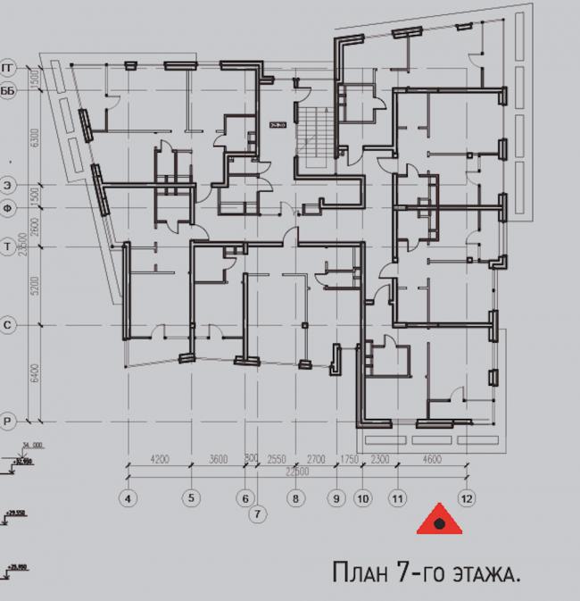 Жилой комплекс «Олимпийская деревня Новогорск. Квартиры». Лесные дома. План 7 этажа © Архитектуриум