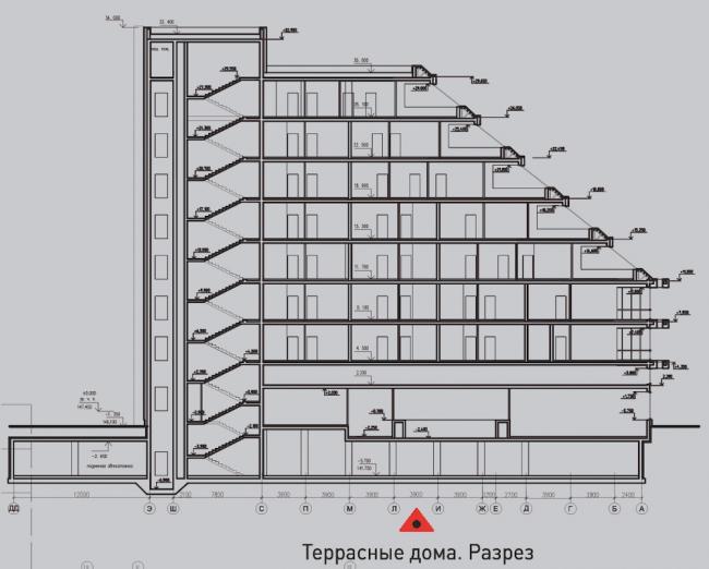 Жилой комплекс «Олимпийская деревня Новогорск. Квартиры». Террасные дома. Разрез © Архитектуриум