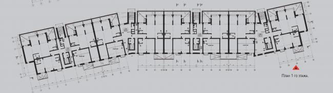 Жилой комплекс «Олимпийская деревня Новогорск. Квартиры». Дом «Гольф». План 1 этажа © Архитектуриум