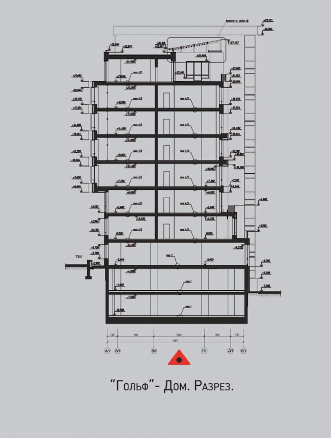 Жилой комплекс «Олимпийская деревня Новогорск. Квартиры». Дом «Гольф». Разрез © Архитектуриум