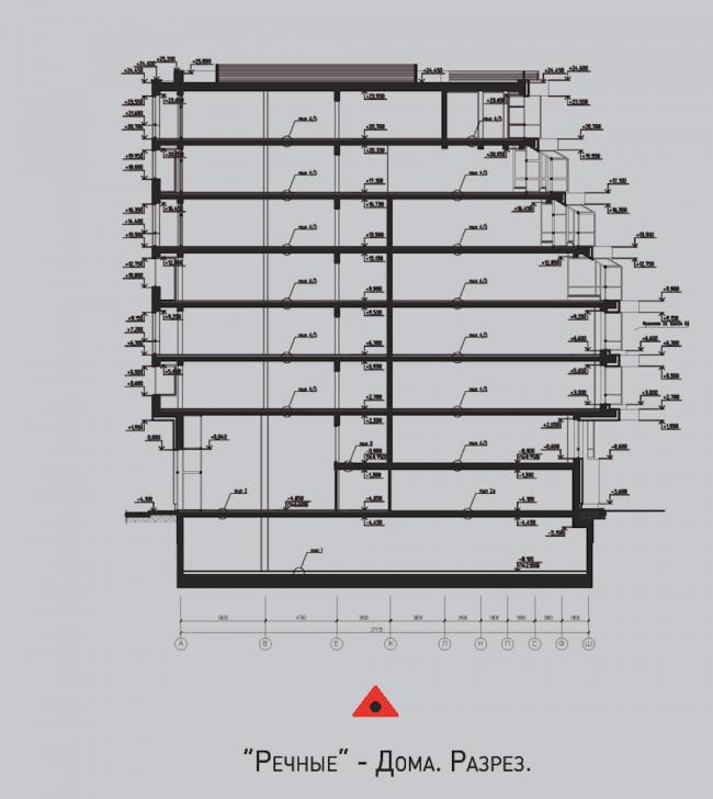 Жилой комплекс «Олимпийская деревня Новогорск. Квартиры».  «Речные» дома. Разрез © Архитектуриум