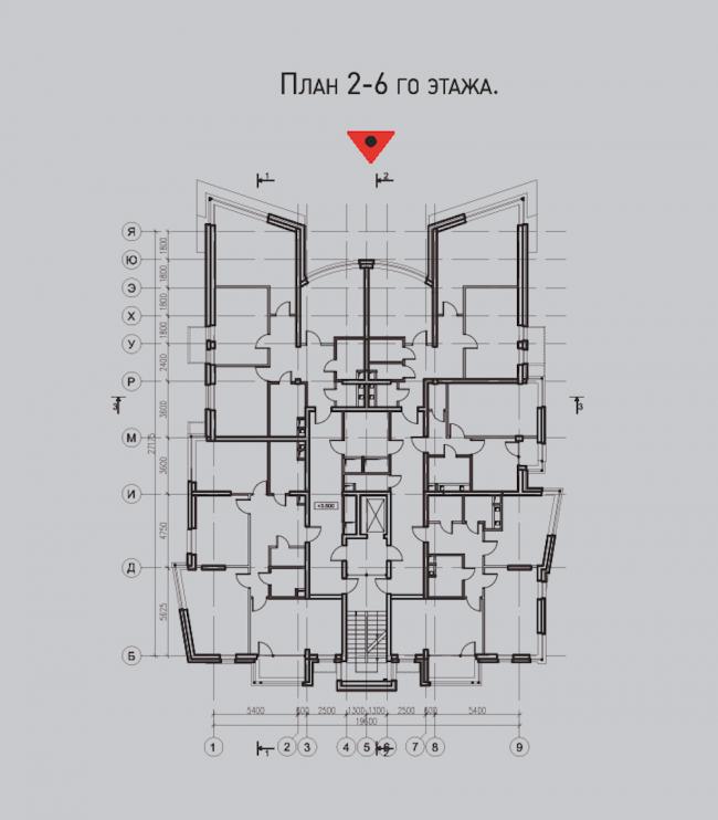 Жилой комплекс «Олимпийская деревня Новогорск. Квартиры». «Речные» дома. План 2-6 этажей © Архитектуриум