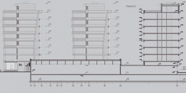 Жилой комплекс «Олимпийская деревня Новогорск. Квартиры». Спортивно-образовательный комплекс. Разрез © Архитектуриум