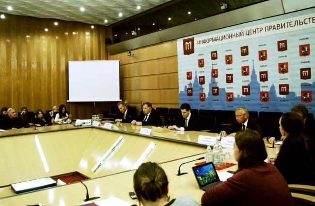 Пресс-конференция в информационном центре правительства Москвы. Фотография Аллы Павликовой
