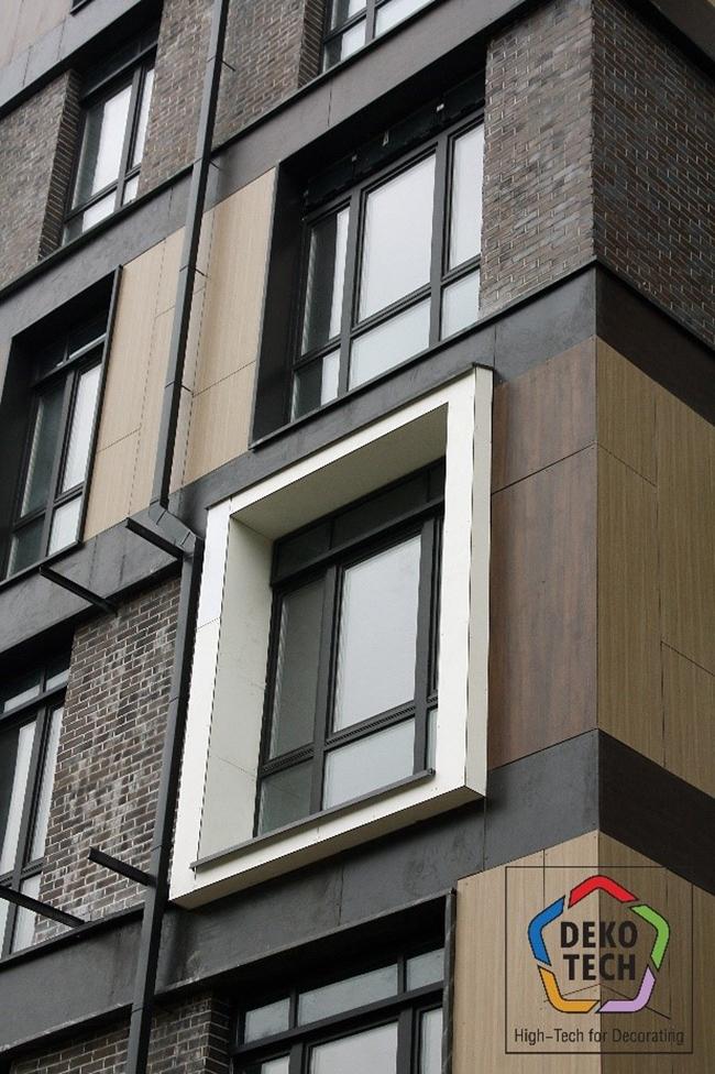 Для отделки фасадов использовали четыре вида декора «под дерево» разного оттенка панелей FunderMax Exterior. Фото предоставлено компанией «Декотек Инжиниринг»