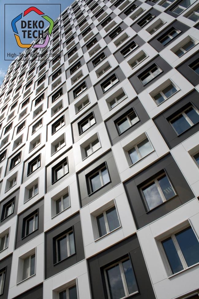 Шахматное поле фасадов созданное из  двух цветов панелей – темного и светлого. Фото предоставлено компанией «Декотек Инжиниринг»