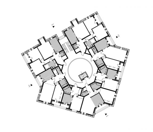 Жилой дом на ул. Чапаева. План типового этажа.