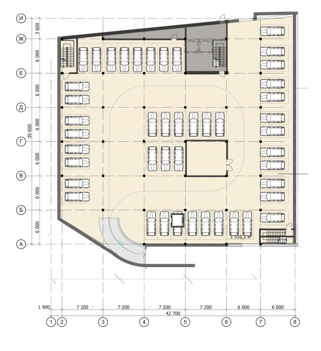 Торгово-администартивный центр «Меркурий». План -1 этажа. Проект, 2016 © Архстройдизайн