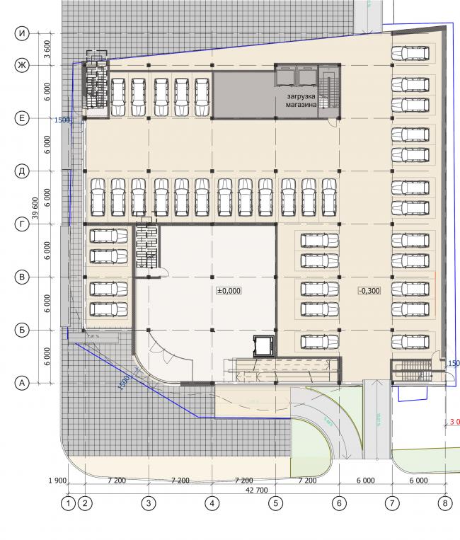 Торгово-административный центр «Меркурий». План 1 этажа. Проект, 2016 © Архстройдизайн