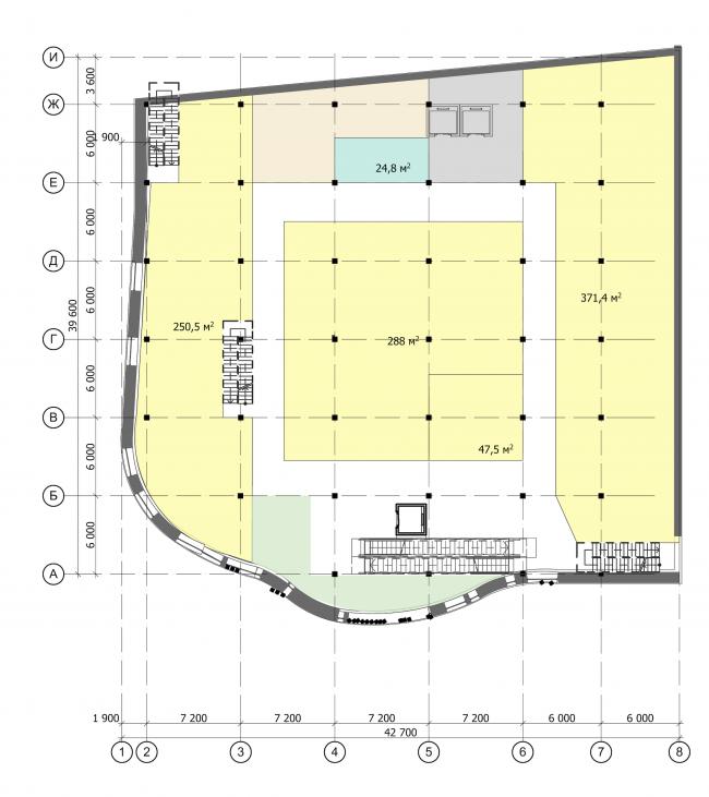 Торгово-административный центр «Меркурий». План 2 этажа. Проект, 2016 © Архстройдизайн