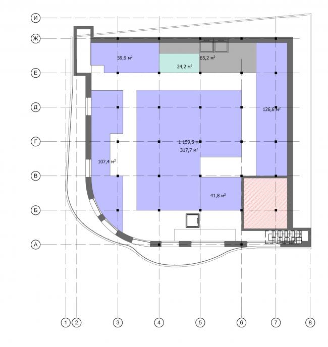 Торгово-административный центр «Меркурий». План 5 этажа. Проект, 2016 © Архстройдизайн