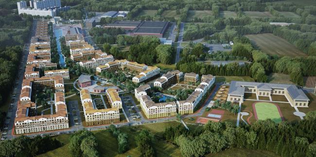 Жилая застройка в городе Пушкин. Вид с высоты птичьего полета. Проект, 2016 © Архстройдизайн