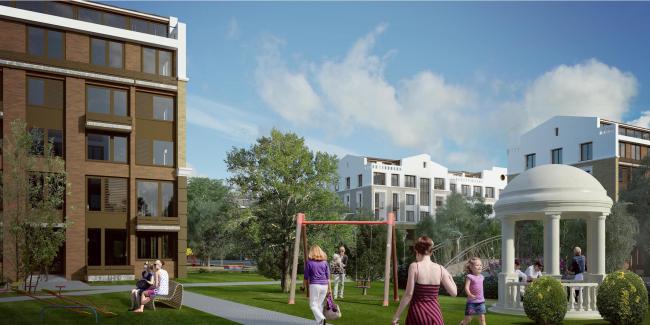 Жилая застройка в городе Пушкин. Вид на парк со стороны жилого квартала. Проект, 2016 © Архстройдизайн