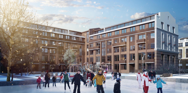 Residential area in Pushkin. View of the residential area from the skating rink. Project, 2016 © Arkhstroydesign ASD