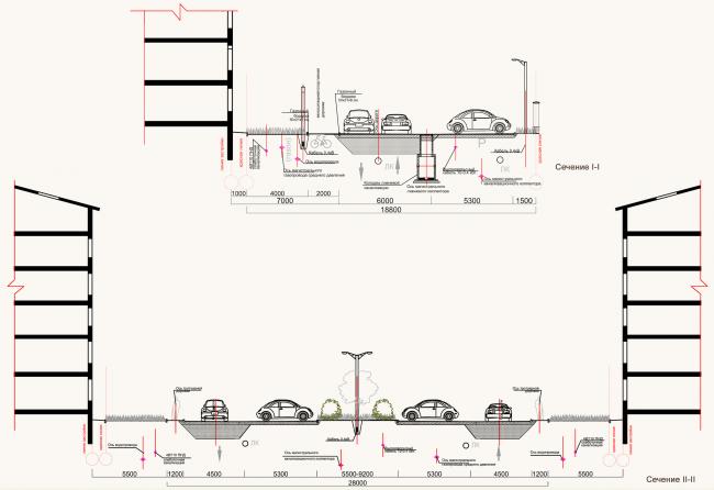 Жилая застройка в городе Пушкин. Поперечные сечения дороги. Проект, 2016 © Архстройдизайн