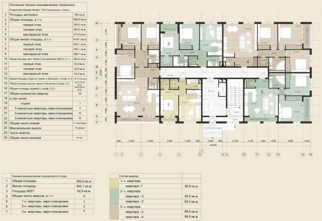 Жилая застройка в городе Пушкин. План 1 этажа (отдельностоящая жилая секция). Проект, 2016 © Архстройдизайн