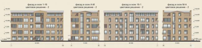 Жилая застройка в городе Пушкин. Фасады (отдельностоящая жилая секция). Проект, 2016 © Архстройдизайн
