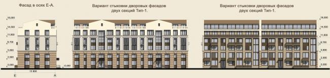 Жилая застройка в городе Пушкин. Фасады (рядовая жилая секция). Проект, 2016 © Архстройдизайн