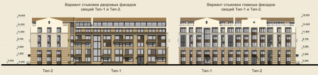 Жилая застройка в городе Пушкин. Фасады (угловая жилая секция). Проект, 2016 © Архстройдизайн
